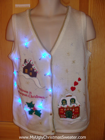 Light Up Ugly Xmas Sweater Vest Happiness is a Homespun Christmas