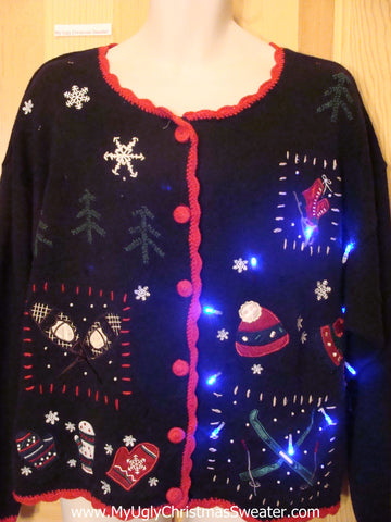 Light Up Ugly Xmas Sweater Cardigan with Winter Ski Mittens Hat