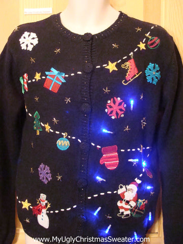 Light Up Ugly Xmas Sweater Santa Zip Line with Skates, Mitten, Gifts