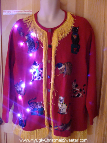 Tacky Ugly Christmas Sweater Cat Party with Lights and Fringe (g88)