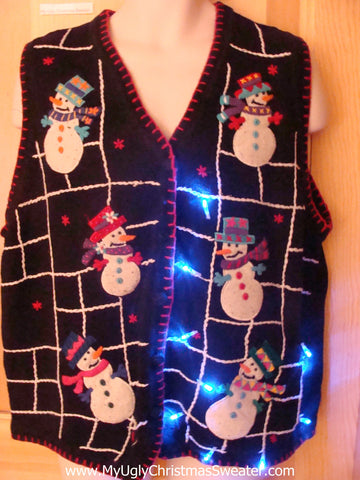 Light Up Ugly Xmas Sweater Vest Snowmen in Spider Web Jail