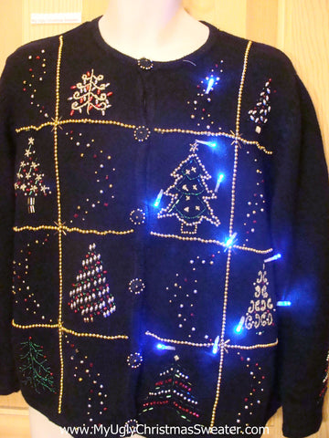 Light Up Ugly Xmas Sweater Bling Trees and Buttons