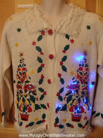 Light Up Ugly Xmas Sweater 80s Trees Bling Beads Furry Collar