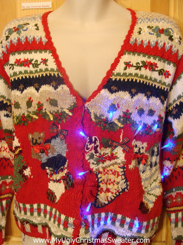 Light Up Ugly Xmas Sweater Crazy 80s Horrible Button Front Knit