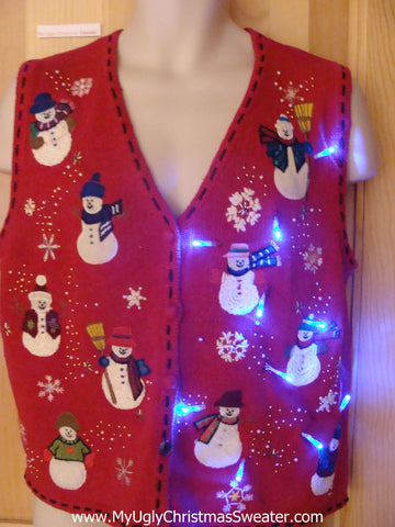 Red Light Up Ugly Xmas Sweater Vest with Snowmen Front and Back