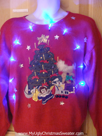 80s Light Up Ugly Xmas Sweater Tree Toys and 3D Furry Hat
