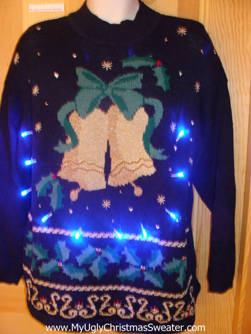 Light Up Ugly Xmas Sweater 80s with Bells and Horrible Green Bow