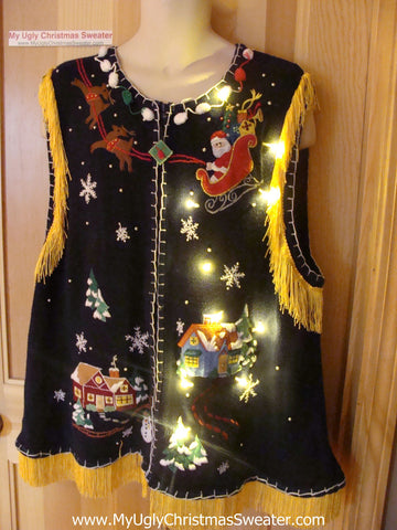 Tacky Ugly Christmas Sweater Santa and his Reindeer with Lights and Fringe XXXL (g89)