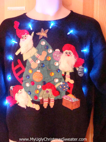 Light Up Ugly Xmas Sweater Furry Beard Santa