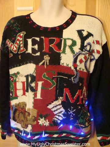 Light Up Ugly Xmas Sweater MERRY CHRISTMAS Pullover