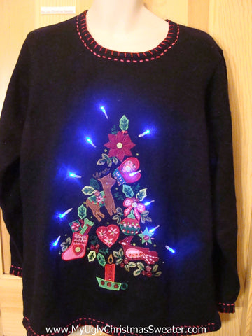 Light Up Ugly Xmas Sweater Crazy Tree