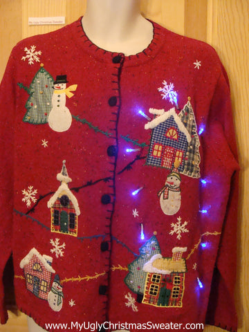 Light Up Ugly Xmas Sweater Plaid Theme Trees, Houses