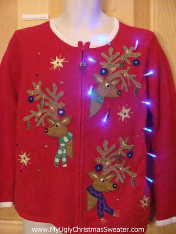 Light Up Ugly Xmas Sweater Reindeer with Ornaments