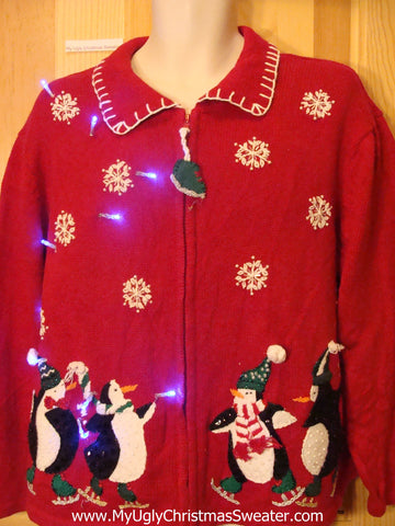 Light Up Ugly Xmas Sweater with Skating Penguins