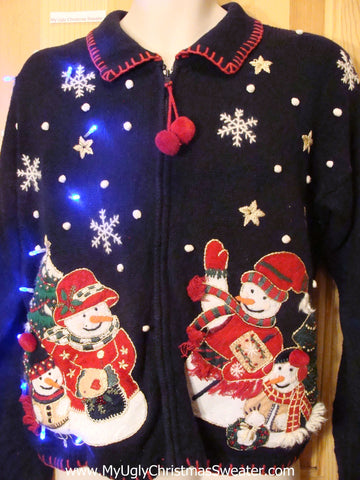 Light Up Ugly Xmas Sweater Furry Snowmen