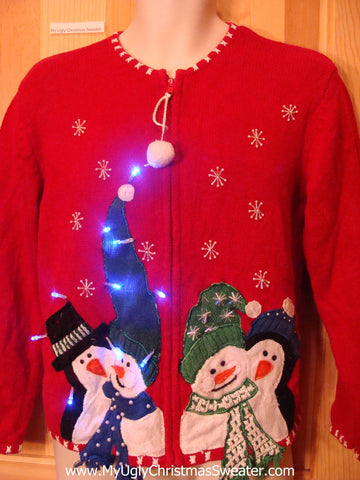 Light Up Ugly Xmas Sweater Festive Snowmen