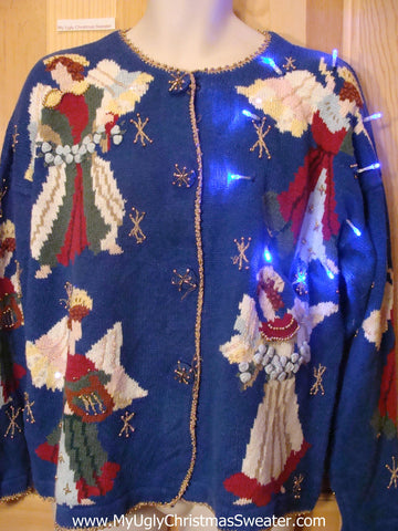 Light Up Ugly Xmas Sweater Huge Angels and Bling
