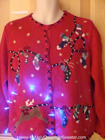 Light Up Ugly Xmas Sweater Reindeer Winter Clothesline
