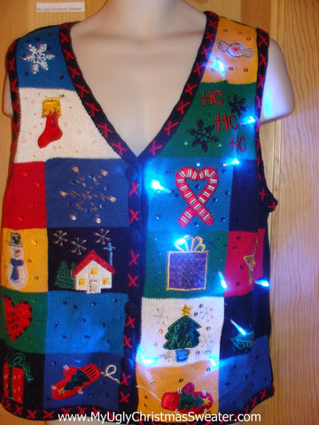 Light Up Ugly Xmas Sweater Vest Colorblock Fun