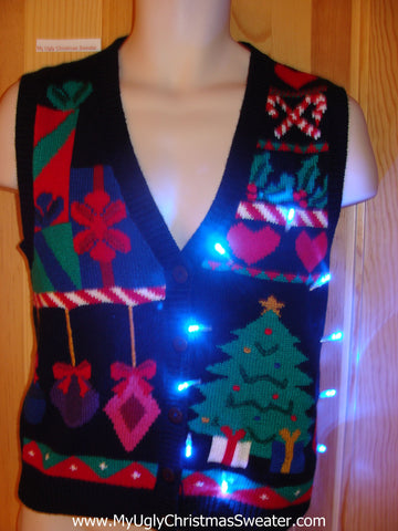 Light Up Ugly Xmas Sweater Tree, Candycane, Gifts