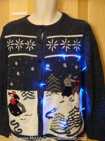 Light Up Ugly Xmas Sweater Winter Wonderland Cardigan