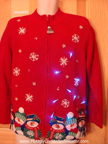 Light Up Ugly Xmas Sweater Bling Colorful Snowmen