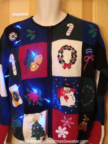 Light Up Ugly Xmas Sweater Colorblock Festive Fun