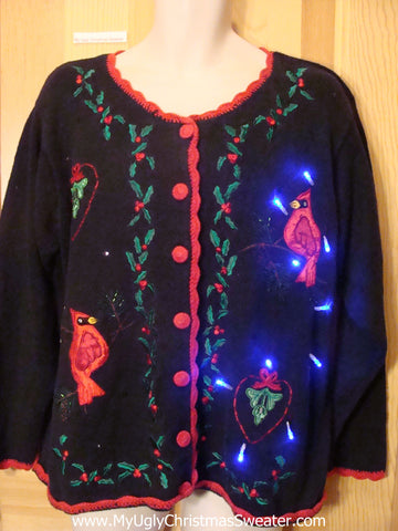 Light Up Ugly Xmas Sweater with Red Cardinals