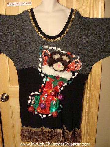 Tacky Ugly Christmas Sweater Crotched Stocking 3D Ornaments with Lights and Fringe (g91)