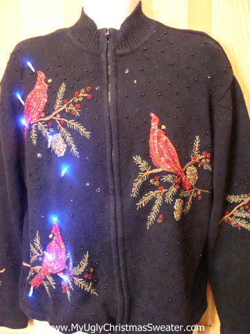 Light Up Ugly Xmas Sweater with Red Bling Cardinals