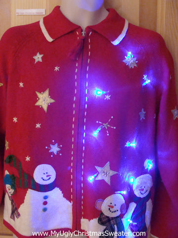 Light Up Ugly Xmas Sweater Snowmen and Snowflakes