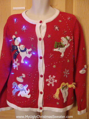 Light Up Red Ugly Xmas Sweater with Dancing Snowmen