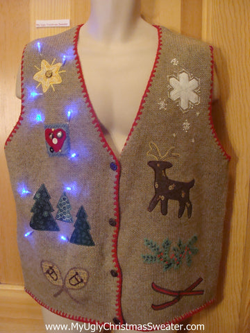 Light Up Ugly Xmas Sweater Vest with Red Trim