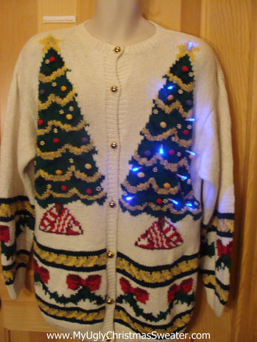 Light Up Ugly Xmas Sweater 80s Trees 2sided