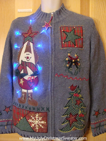Light Up Ugly Xmas Sweater Plaid Crafty Funny Knit