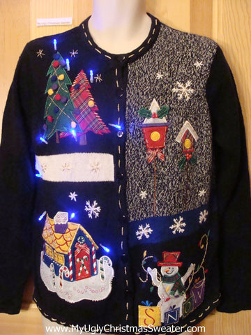 Light Up Ugly Xmas Sweater Birdhouse 2sides