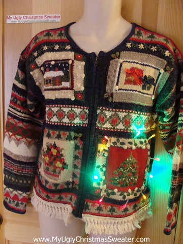 Tacky Ugly Christmas Sweater with Lights and Fringe (g92)
