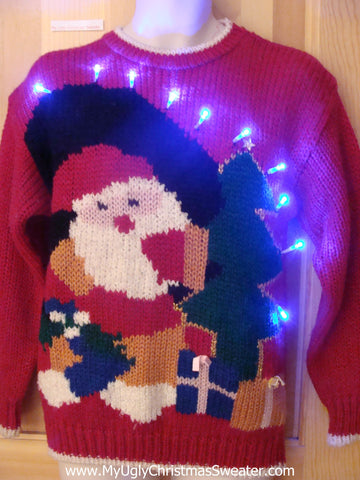 Light Up Ugly Xmas Sweater 80s Huge Santa Gifts
