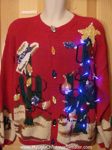Light Up Ugly Xmas Sweater Cactus Bling Holy Grail of Fun