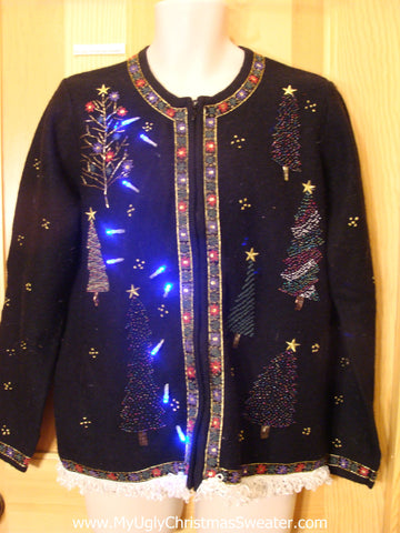 Light Up Black Ugly Xmas Sweater Bling Trees and Fringe