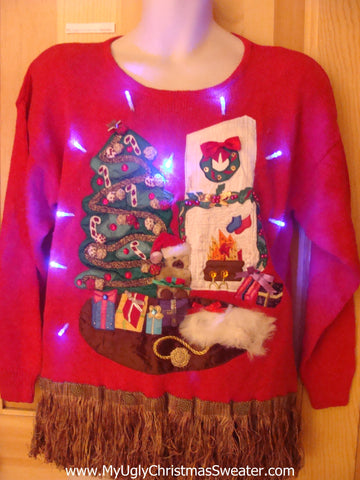 Light Up Ugly Xmas Sweater 80s Tree and 3D Furry Cat