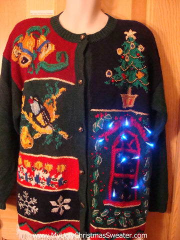 Light Up Ugly Xmas Sweater 80s Bling Tree and Ivy