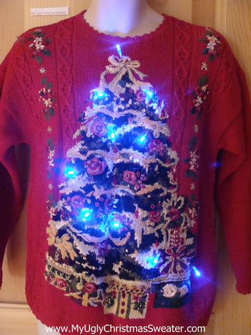 Light Up Ugly Xmas Sweater 80s Pullover Huge Tree