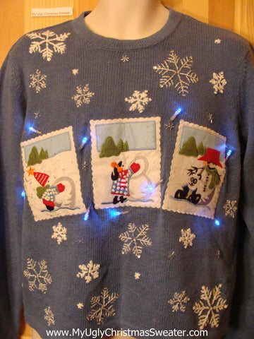 Light Up Ugly Xmas Sweater Blue Pullover Winter Snow