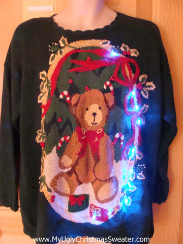 Light Up Ugly Xmas Sweater Green 80s Pullover with Bear