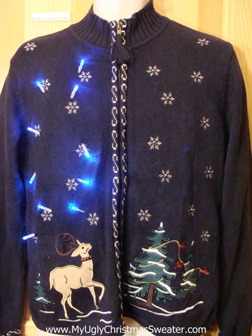 Light Up Ugly Xmas Sweater Prancing Reindeer