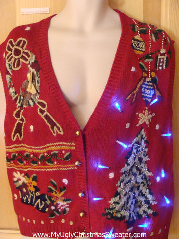 Light Up Ugly Xmas Sweater Vest with Tree