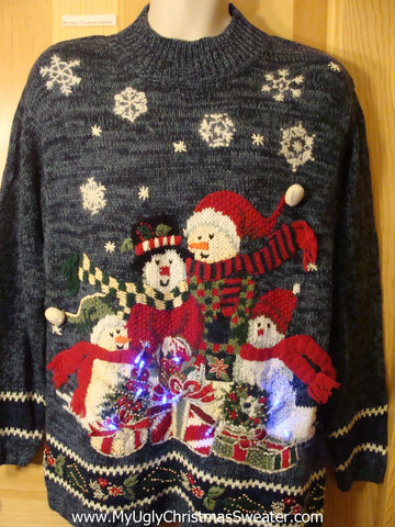 Light Up Ugly Xmas Sweater 80s Snowman Family