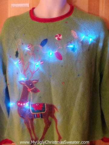 Light Up Ugly Xmas Sweater Pullover Festive Reindeer