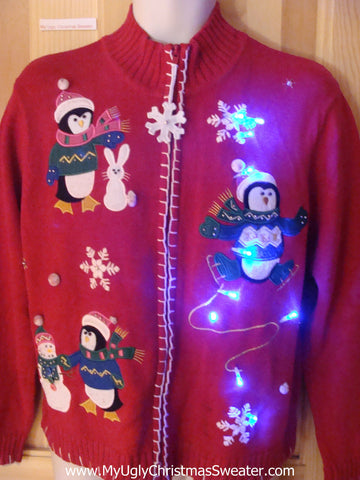 Light Up Ugly Xmas Sweater Penguins and Snowmen